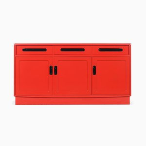 Red Lacquered Wooden Sideboard with 3 Doors and 3 Drawers, 1960s
