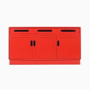 Rot Lackiertes Sideboard aus Holz mit 3 Türen und 3 Schubladen, 1960er