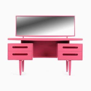 Pink lackierter Frisiertisch aus Holz mit 4 Schubladen, 1960er