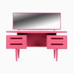 Pink Lacquered Wood Dressing Table with 4-Drawers, 1960s