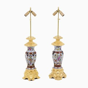 Table Lamps in Porcelain and Gilt Bronze, 1880s, Set of 2