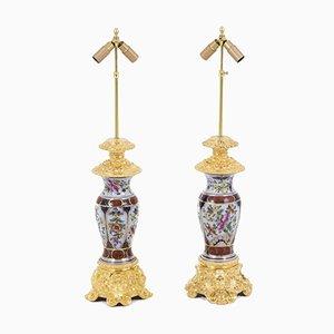 Tischlampen aus Porzellan und vergoldeter Bronze, 1880er, 2er Set