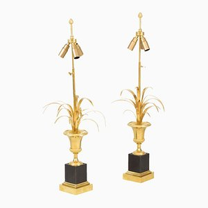 Reeds Table Lamps in Gilt Bronze Attributed to Maison Charles, 1970s, Set of 2