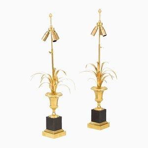 Runde Tischlampen aus vergoldeter Bronze von Maison Charles, 1970er, 2er Set