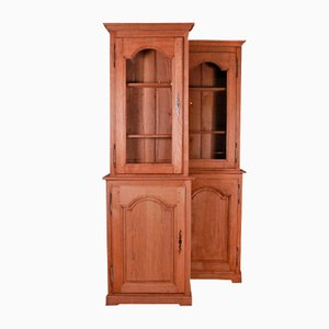 Antique French Oak Bookcases, Set of 2