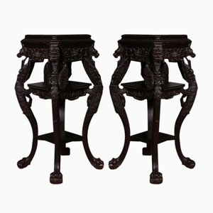 Antique Oriental Country House Pedestals, Set of 2