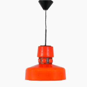 Orange Glass Ceiling Lamp, 1960s