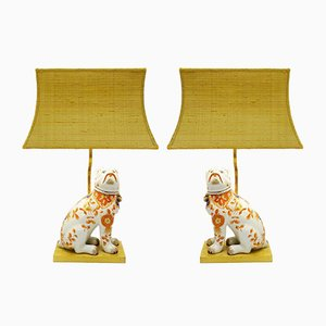 Vintage Ceramic Dog Table Lamps, Set of 2