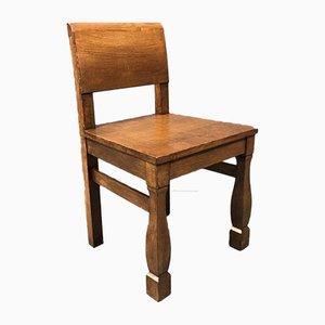 Brutalist Oak Chairs, 1950s, Set of 6