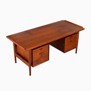 Mid-Century Teak Veneer Model 207 Desk by Arne Vodder for Sibast, 1960s