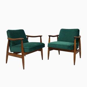 Green Velvet Model GFM-87 Lounge Chairs by Juliusz Kedziorek for Gościcińskie Fabryki Mebli, 1960s, Set of 2