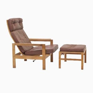 Mid-Century Lounge Chair and Ottoman Set in the Style of Borge Morgensen