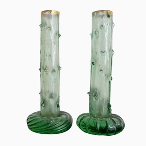 Jugendstil Austrian Colored Glass Bud Vases, Set of 2