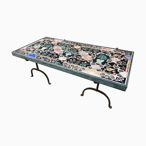 Vintage Scagliola and Iron Coffee Table, Italy, 1940s