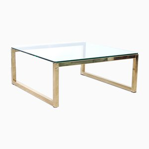 Brass-Plated Metal and Glass Coffee Table, 1970s