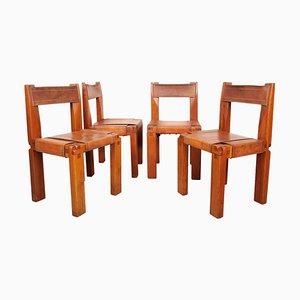 Französische S11 Esszimmerstühle aus massivem Ulmenholz & cognacfarbenem Leder von Pierre Chapo, 1970er, 4er Set
