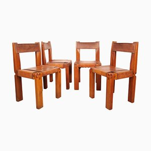 French Solid Elm and Cognac Leather Model S11 Dining Chairs from Pierre Chapo, 1970s, Set of 4