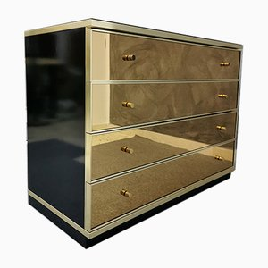 Sideboard with Brass and Mirrored Glass Finishes by Renato Zevi, 1970s