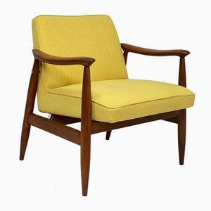 Yellow Fabric Model GFM-87 Lounge Chair by Juliusz Kedziorek for Gościcińskie Fabryki Mebli, 1960s