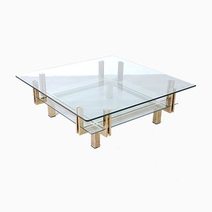 Brass-Plated Metal and Double Glass Coffee Table, 1970s