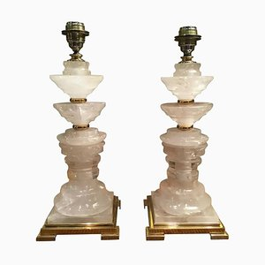 Italian Rocca Crystal and Brass Table Lamps, 2000s, Set of 2