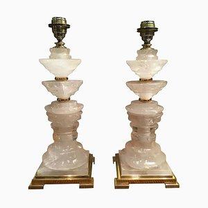 Italienische Rocca Kristallglas & Messing Tischlampen, 2000er, 2er Set