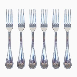 Silvered Metal Forks from Christofle, 1980s, Set of 6