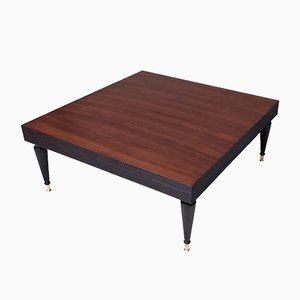 Italian Squared Black Walnut Coffee Table in the style of Paolo Buffa, 1950s