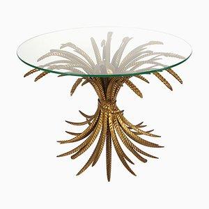 Table Basse Hollywood Regency avec Panneau Doré de Blé Style Coco Chanel, 1960s