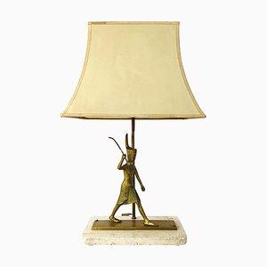 Lampe de Bureau Neoclassical Vintage en Marbre avec Guerrier Egyptien
