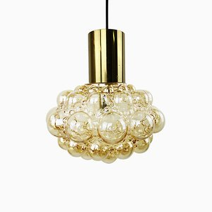Mid-Century Glass and Brass Bubble Pendant Lamp by Helena Tynell and Heinrich Gantenbrink for Glashütte Limburg