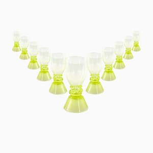 18tg Century Dutch Yellow and Green Roemers Wine Glasses, Set of 11