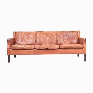 Mid-Century Danish Patinated Leather Sofa, 1980s