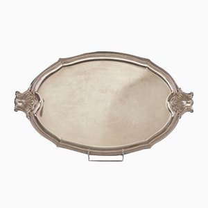 Large Regency Style Silver Plated Metal Tray with Two Handles