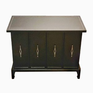 Mid-Century Black Lacquer Record Cabinet by Renzo Rutili