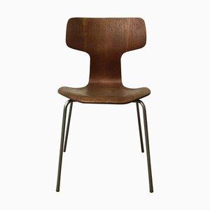 Sedia da pranzo modello 3103 grigia di Arne Jacobsen per Fritz Hansen, anni '60