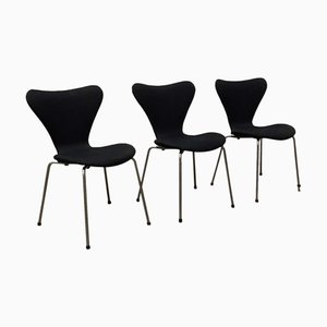 Black Model 3107 Butterfly Dining Chairs by Arne Jacobsen for Fritz Hansen, 1970s, Set of 3