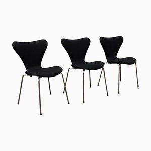 Chaises de Salon Papillon Modèle 3107 Noires par Arne Jacobsen pour Fritz Hansen, 1970s, Set de 3