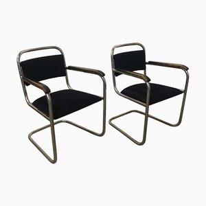 Chaises de Salon Tubulaires Noires, Pays-Bas, 1930s, Set de 2
