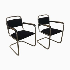 Dutch Black Tubular Dining Chairs, 1930s, Set of 2