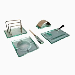 Mid-Century Green Glass Desk Set by Pietro Chiesa for Fontana Arte, 1950s