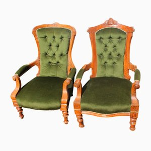 Antique Victorian Walnut Mummy and Daddy Armchairs in Green, Set of 2