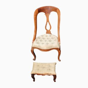 Antique Mahogany Upholstered Nursing Chair with Stool, 1900s, Set of 2