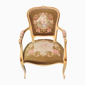 Antique French Tapestry Chair with Original Crackled Effect, 1900s