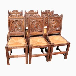 Antique Breton Oak Dining Chairs with Rush Seats, Set of 6