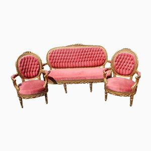 Salon Gold and Red Living Room Set, 1960s, Set of 3