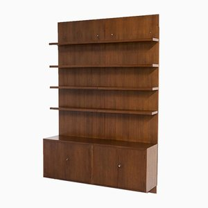 Swiss Dark Wood Storage Cabinet and Wall Unit Set, 1970s, Set of 2