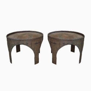 Antique Industrial Round Riveted Metal Coffee Tables, Set of 2