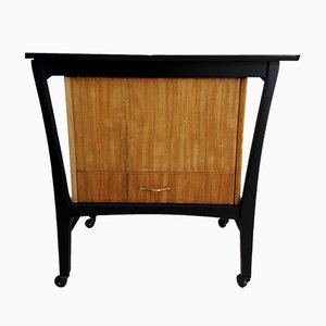 Tole and Black Sewing Cabinet on Wheels in the Style of G Plan, 1950s