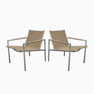 Chrome and Rattan Model SZ01 Lounge Chairs by Martin Visser for Spectrum, 1960s, Set of 2